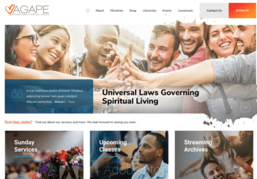 Agape International Spiritual Center website development - Web Loft Designs Dallas and Plano