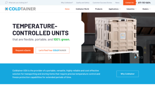 Coldtainer website desktop